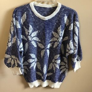 Knit Crew Neck 3/4 Sleeve Sweater Top leaf Details